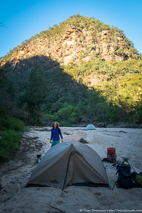 Rachel at camp the next morning