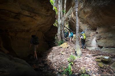 The creek heads into a mini canyon
