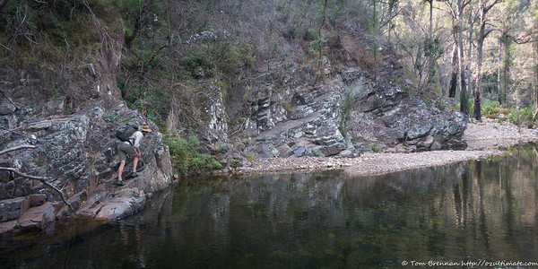 Heading down Bundundah Creek the next day - Alex perhaps on the wrong side?!