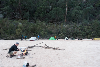 Next morning, campfire and campsite