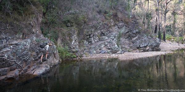 Heading down Bundundah Creek the next day - Alex perhaps on the wrong side?!