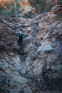 Raf and Roger clmbing a dryfall in Diagonal Gorge