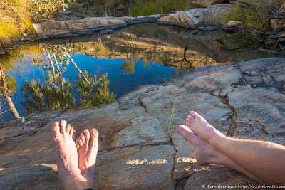 Reflections in the waterhole at the foot of Diagonal Gorge