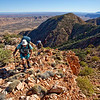 Climbing the South Ridge on Mt Giles. Michael Hampton and Stuart Imer. West MacDonnell Ranges National Park.