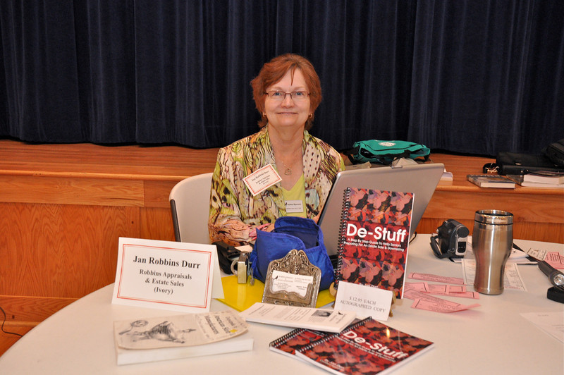 Jan Durr, Robbins Appraisals & Estate Sales, Author of De-Stuff, - selling your antiques and possessions workshop