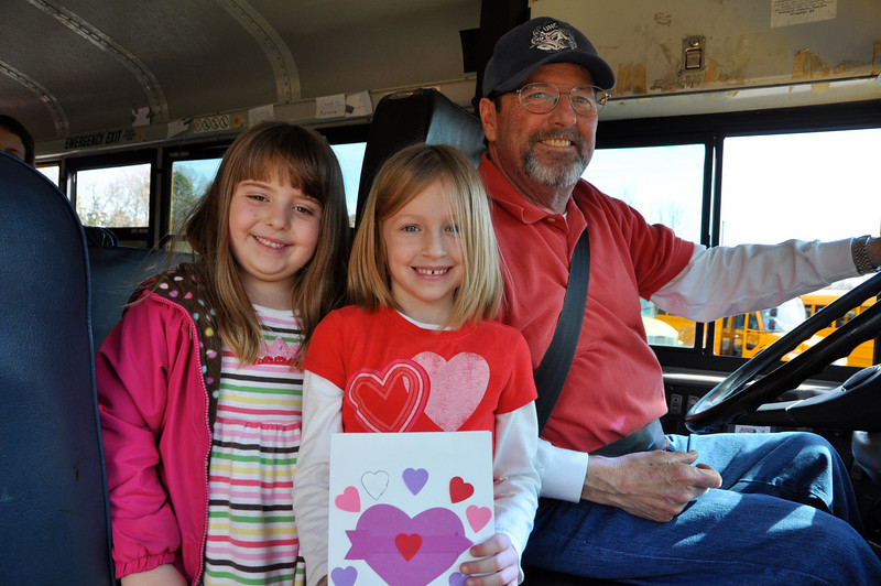 Sophia Parrnelli,6 Ansley Hayes,6 with their favorite bus driver David Marshall-feel the love!!!