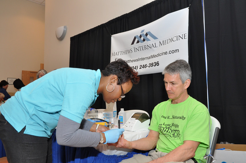 Blood pressure, cholesterol, blood sugar checks by MIM for Bob Bunzey Matthews.