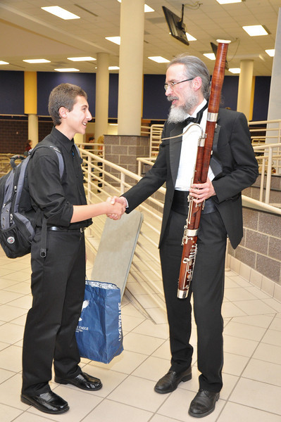 Alex Abuaita Cuthbertson HS Bassoon musician meets his mentor Will Peebles from WCU School of Music