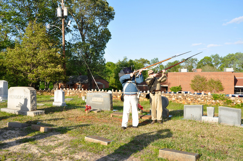 Gun Salute with re-enactors that represent the Mexican War and Civil War.
