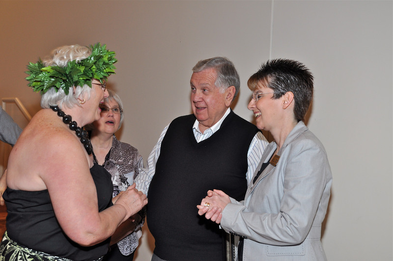 Mr. Levine and (far right)Executive Director of Center, Dahn Jenkins laugh with Tina Ross,President of Levine Board and Hula Dancer after the show.