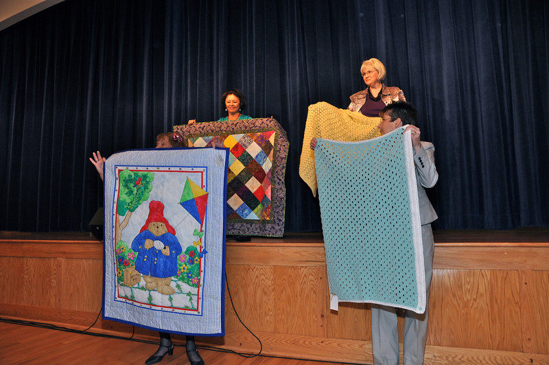 "The Lynn Edelstein Project-1500 ""Chai Hopes"" blankets were made by Busy Hands Group at the Center donated to Levine Children's Hospital in Charlotte. Mrs. Levine brought a few to show how grateful the children are to receive these blessings."
