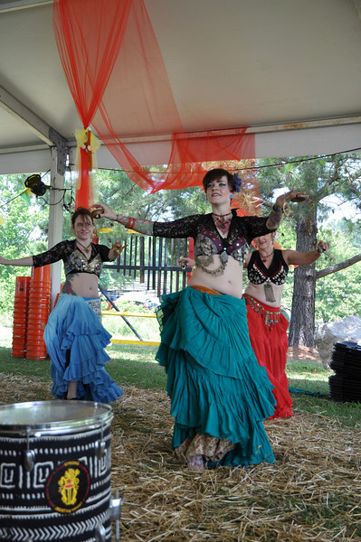 Mideast Dance Ensemble: Belly dancing to the drum beats- Sarah Hahn, Judy Ponder, Wendy Messina