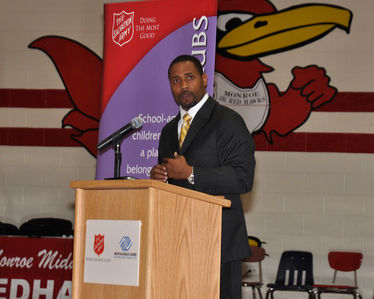Carolinas Former Panther Mike Minter Speaks at the Boys and Girls Club Opening at Monroe Middle School.