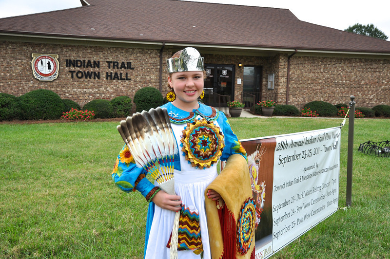 Alaina Malcolm, 12 yrs, from Pembroke, NC is Jr Miss Lumbee, who as royalty leads the dancers.