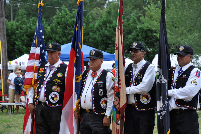 Lumbee Warriors Association Veterens from Pembroke, NC <br /> Grand Entry Flag Song/Posting of Colors<br /> Furnie Lambert, James Edward Thomas, Leary Chavis, Ronald Brooks
