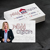 Blank corporate identity package business card with dark grey suit  background.