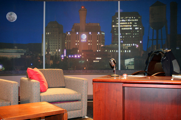 Shot photo of New Haven skyline to be used as a backdrop for a talk show set.
