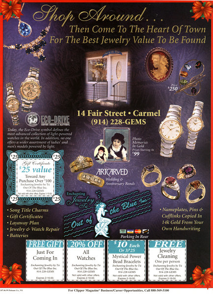 Client:  Out of the Blue Jewelry<br /> Jewelry shots for ads in local Clipper Magazine.