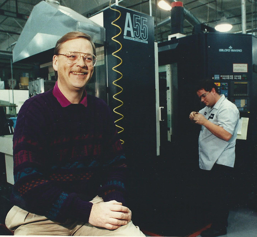 . 1993: John Nelson, president of Miltronics Inc. of Painesville, a company that makes custom medical equipment, is shown in front of a machine which mills parts for the equipment. In the background is Mike Whitaker, an operator for the A55 milling center. Miltronics ranked as the No. 6 Established company on the Fast Track 50 in 1993, the inaugural year for the event. News-Herald file