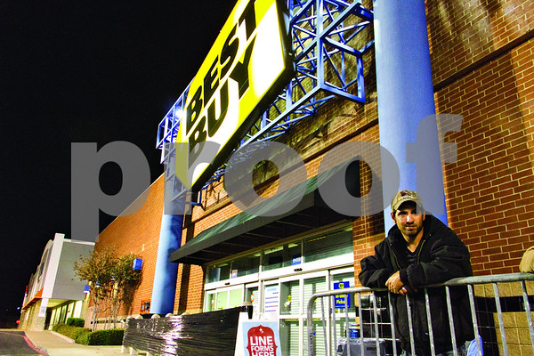 Casey Parker is first in line at Best Buy.  Mr. Parker has been in this spot since 11:30 Tuesday morning.