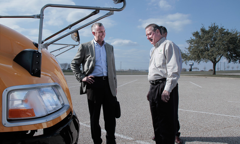 TPGA Executive Director, Bill Van Hoy shows Rep. Ralph Sheffield of Temple, TX, the new Blue Bird Bus powered by propane at the Moving Texans with Propane event in Temple on February 7th.