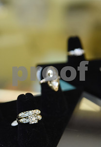 Vintage wedding rings are pictured at Graf's Antiques and Jewelry in downtown Gladewater Friday Feb. 10, 2017. Owner Ginger Graf sells vintage jewelry and pieces she has made herself.  (Sarah A. Miller/Tyler Morning Telegraph)