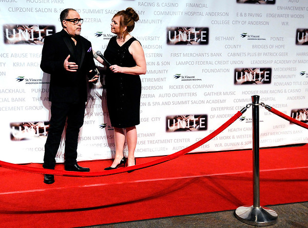 Don Knight | The Herald Bulletin<br /> Darla Couch interviews Central Christian Church pastor Rick Vale on the red carpet during the Madison County Chamber of Commerce annual awards night on Thursday at Madison Park Church of God.