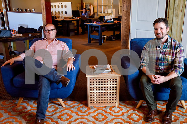Co.Work co-founders Josh Ebright and Blake Moser at Co.Work in Tyler, Texas, on Tuesday, March 21, 2017. Co.Work is a rent-a-desk and collaborate space for professionals who don't want the structure or expense of a full office. (Chelsea Purgahn/Tyler Morning Telegraph)