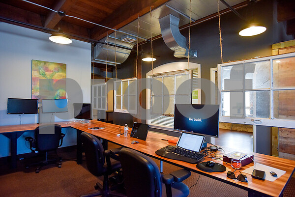 Work space at Co.Work in Tyler, Texas, on Tuesday, March 21, 2017. Co.Work is a rent-a-desk and collaborate space for professionals who don't want the structure or expense of a full office. (Chelsea Purgahn/Tyler Morning Telegraph)