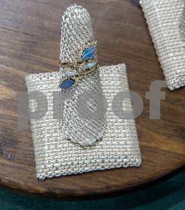 An Eden Presely ring featuring boulder opal is pictured Thursday at Blue The House of Jewelry. The business is now open at the Sonoma Village shopping center in Tyler.  (Sarah A. Miller/Tyler Morning Telegraph)