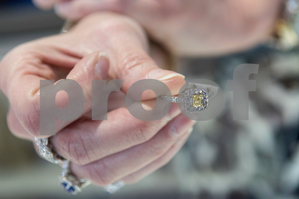 A natural yellow diamond ring is seen Thursday at Blue The House of Jewelry. The business is now open at the Sonoma Village shopping center in Tyler.  (Sarah A. Miller/Tyler Morning Telegraph)
