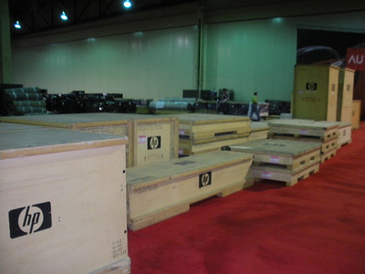 Exhibit Hall Setup - HP Booth