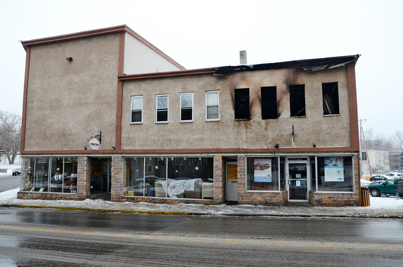 Aftermath of Saturday's fire at a 2nd-story apartment above Gariepy Furniture on Central St. in Leominster, Monday.<br /> SENTINEL & ENTERPRISE / BRETT CRAWFORD
