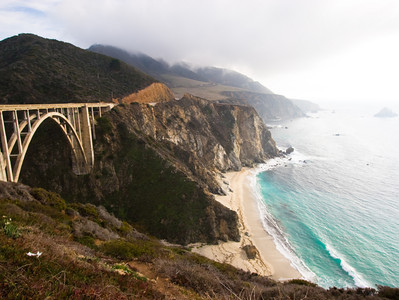 The California coast near Big Sur, with historic bridge