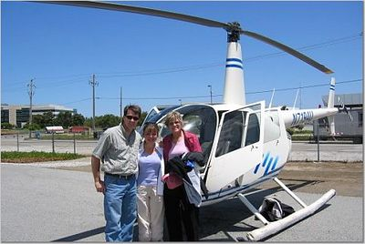 Mark & Barbara with me and the helicopter, 19 June 2005.