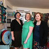 From left, Carissa Campbell, Eileen DeChaves, Sara Hesselton all of Chelmsford, co-owners of the Artisans Exchange in Central Square, Chelmsford.  (SUN/Julia Malakie)