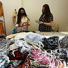 Assemble Lab production manager Sharon Drelick of Windham, N.H., left, and Karen Blumsack of Amesbury, who does product development, at the company's space at Western Ave Studios, where they have switched from fashion orders to making masks for the COVID-19 pandemic. (SUN/Julia Malakie)