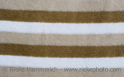 Brown and white striped fabric - Velours fabric