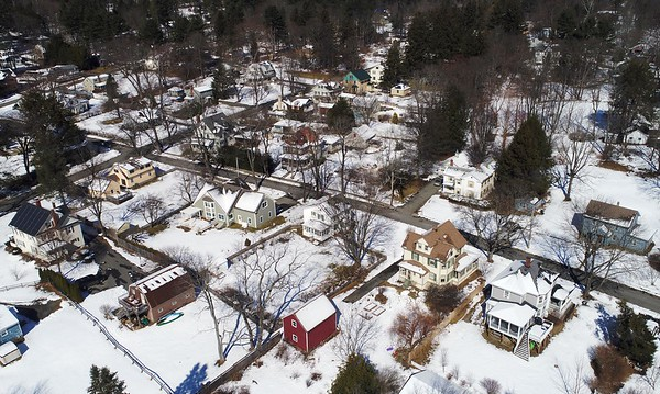 BEN GARVER — THE BERKSHIRE EAGLE<br /> Aerial view of residential property in Great Barrington.