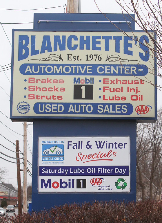 . Current sign at Blanchette\'s on Lakeview Ave. Rich Blanchette, who is retiring this week after 41 years in business, having sold Blanchette\'s Automotive Service to Pep Boys.  (SUN/Julia Malakie)