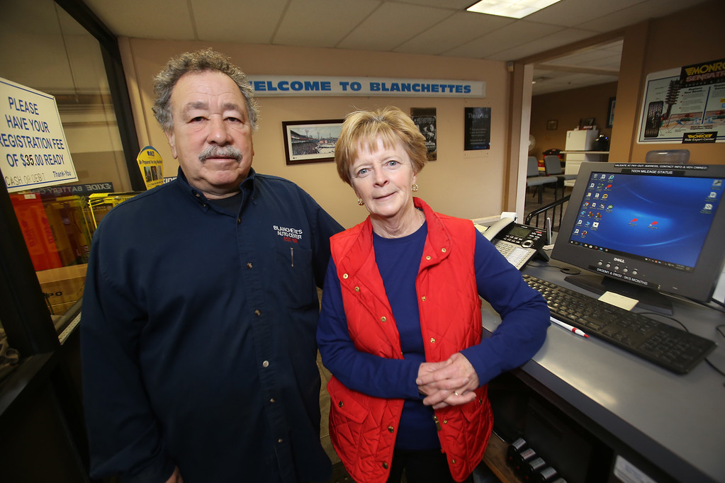 . Rich Blanchette, with his wife Leanne Blanchette, who works part-time in the office. He is retiring this week after 41 years in business, having sold Blanchette\'s Automotive Service to Pep Boys.  (SUN/Julia Malakie)