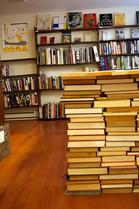 Side view of the stacks of books that make up the Pennsylvania table.  Made by Jason Page.