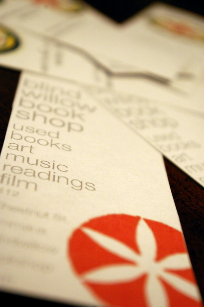 Bookmarks, featuring the shop's hex sign motif, by Jason Page