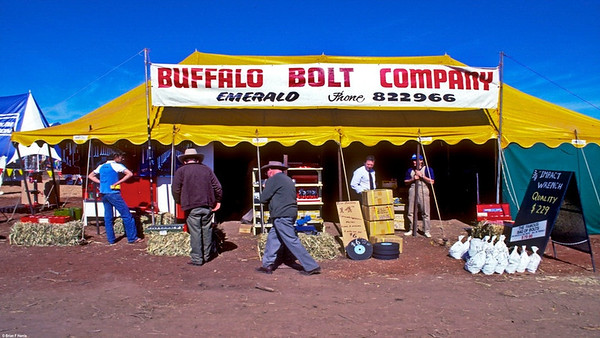 """The buckets are filled with snig chains. We sold heaps of them plus the yellow load binders and mechanic type tools. We later changed our radio commercials to """" Buffalo Bolt Company. Your first stop for the workshop."""" It really worked for us. We stocked the full range of high tensile bolts right up to 1 1/2"""" plus agricultural and mild steel zinc bolts edit"""