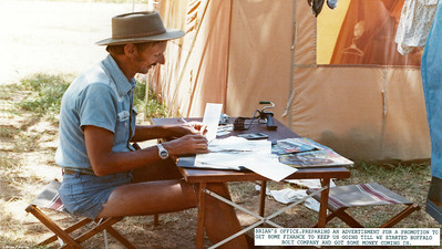 We lived in this tent in caravan park for two hot weeks before owners of house we purchased, moved out as per contract. To generate some income, Brian works on a mail order promotion to sell some 'Bags of bolts' through newspaper advertisments. This has to work or we are out of business as all our dollars went on house and an industrial land purchase.