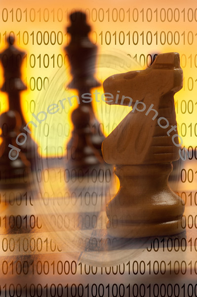 Chess pieces on board combined with field of zeros and ones is a metaphor/symbol for cyber/computer/ information technology strategy.
