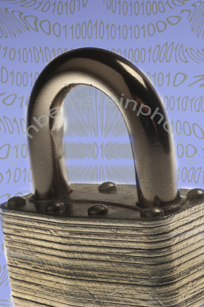 Padlock combined with field of zeros and ones is a metaphor/symbol for cyber/computer technology security... a growing threat to business and all government.