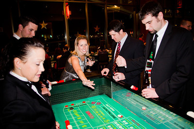 Amanda setting the point at the Craps table