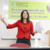 Labor Secretary Rachel Kaprielian address' the crowd at the Career Center of North Central Ma on Erdman Way in Leominster on Tuesday during her visit. SENTINEL & ENTERPRISE/JOHN LOVE