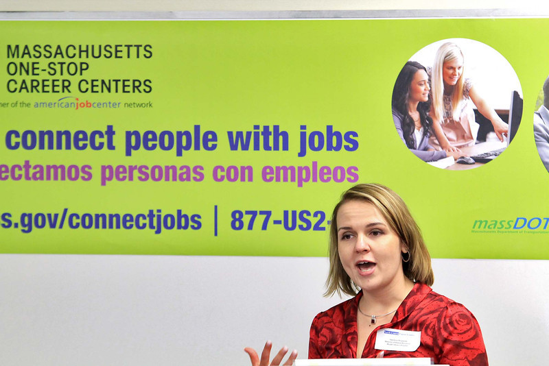 Anastasia Bergmann the senior Manager for Human resources at HealthAlliance Hospital address' the crowd at the Career Center of North Central MA on Erdman Way in Leominster on Tuesday during the Labor Secretary Rachel Kaprielian visit. SENTINEL & ENTERPRISE/JOHN LOVE